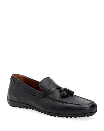 Men's Richard Pebbled Leather Tassel Loafers
