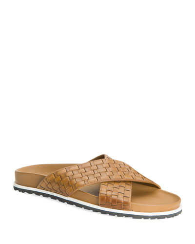 Men's Tanner Woven Leather Slide Sandals