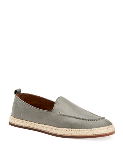 Men's John Tumbled Leather Espadrille Loafers