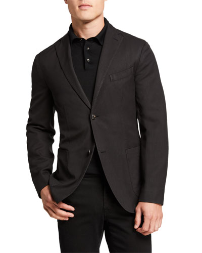 Men's Herringbone Two-Button Wool Jacket