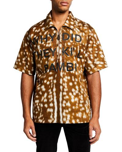 Men's Deer-Pattern Typography Short-Sleeve Zip-Front Sport Shirt