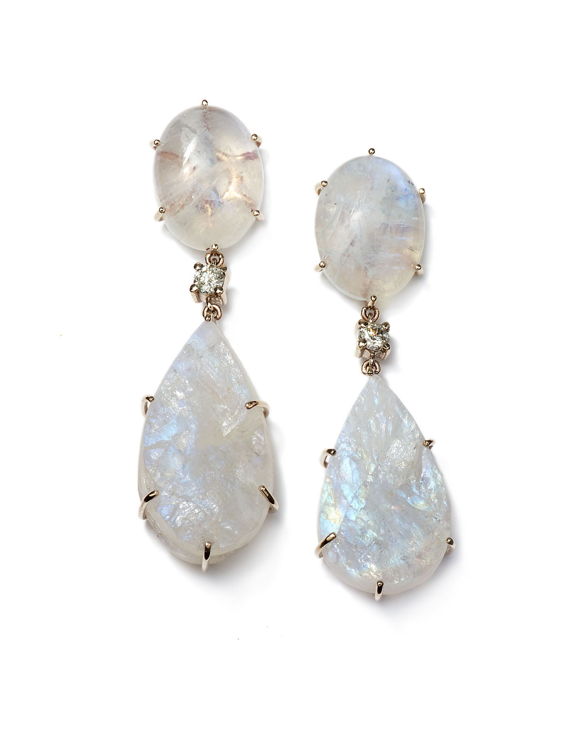 Jan Leslie Ties 18K BESPOKE 2-TIER TRIBAL LUXURY EARRING WITH MOONSTONE CABOCHON, RAW MOONSTONE, AND DIAMOND
