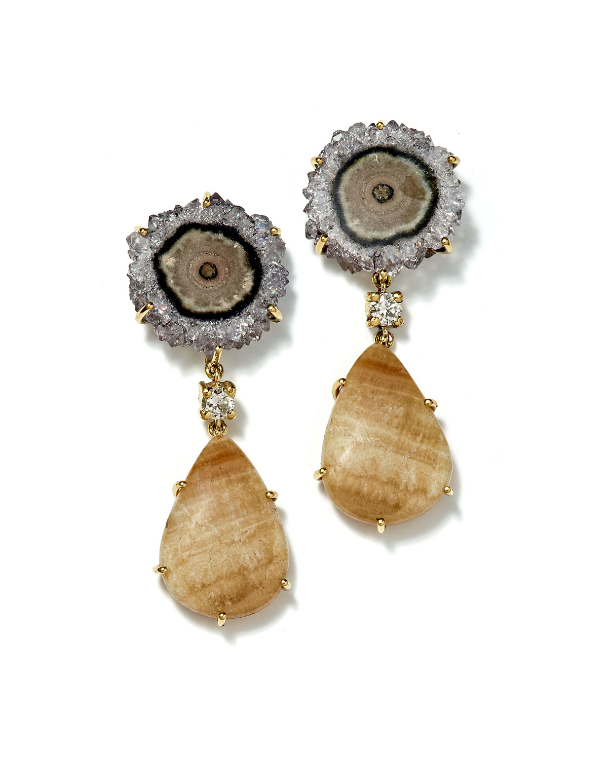 Jan Leslie Ties 18K 2-TIER TRIBAL LUXURY EARRINGS, GRAY/TAN