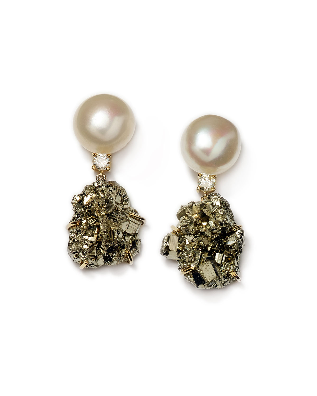 Jan Leslie Ties 18K BESPOKE TRIBAL LUXURY 2-TIER EARRING WITH PEARL, PYRITE, AND DIAMOND
