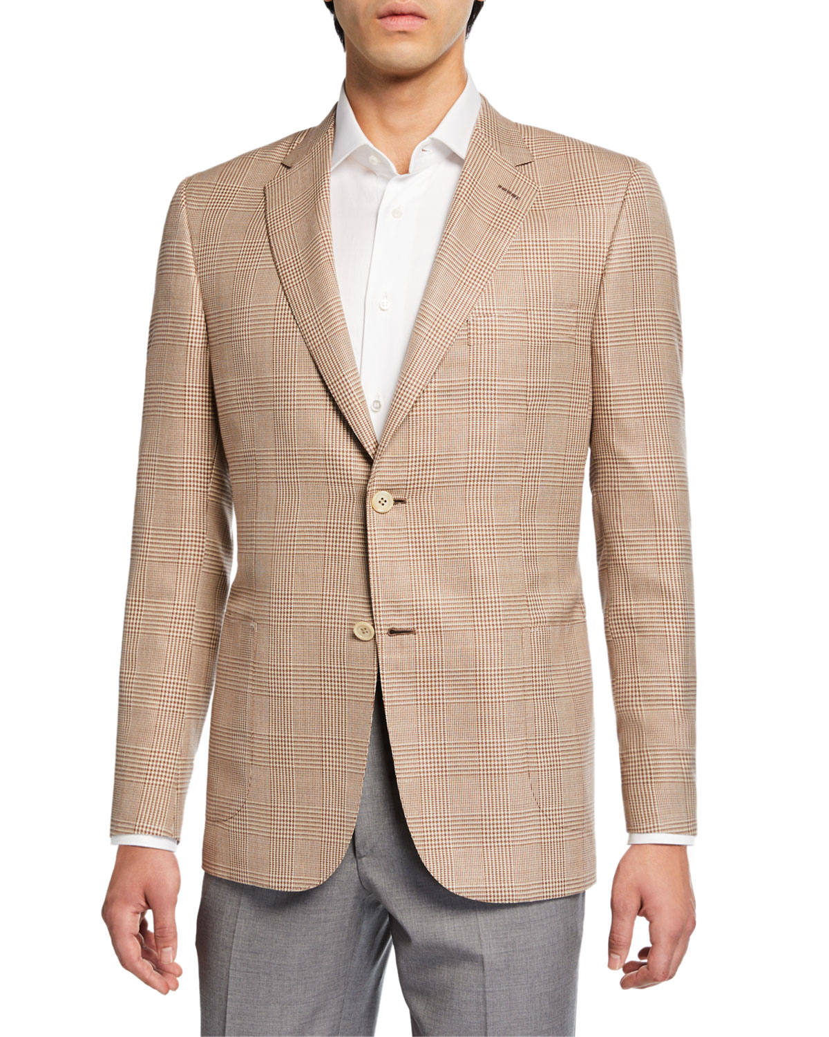 Brioni Jackets MEN'S PLAID TWO-BUTTON JACKET