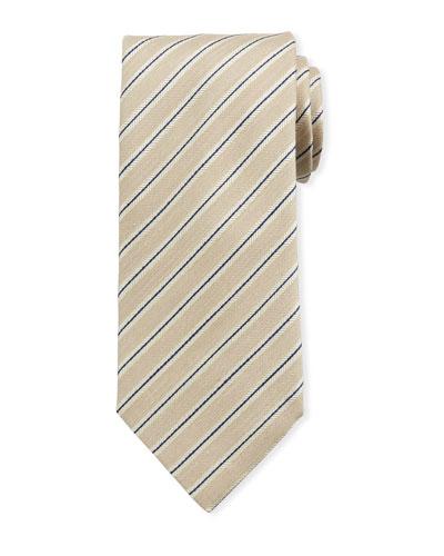 Framed Stripe/Linen Silk Tie