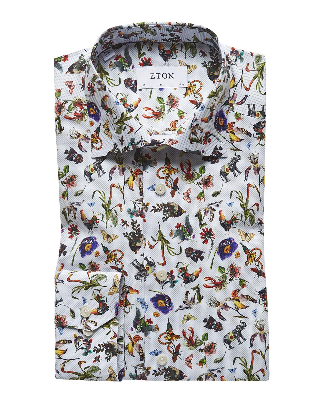 Eton Dresses Men's Floral-Print Slim-Fit Dress Shirt, MULTI