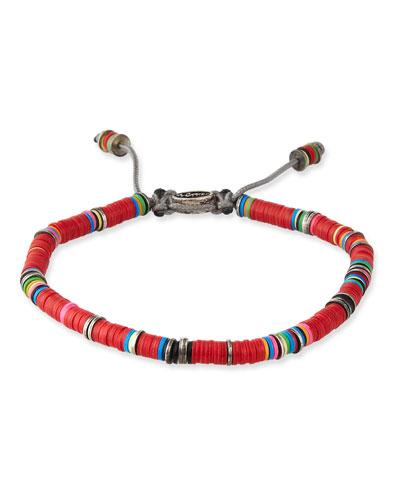 Men's African Vinyl Discs Bracelet, Red