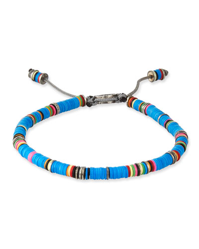 Men's African Vinyl Discs Bracelet, Blue