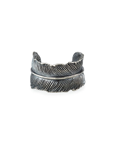 Men's Silver Casted Feather Ring, Size 10-11