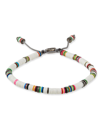 Men's African Vinyl Discs Bracelet, White