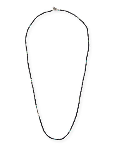 Men's Mini Gemstone Beaded Necklace, Black