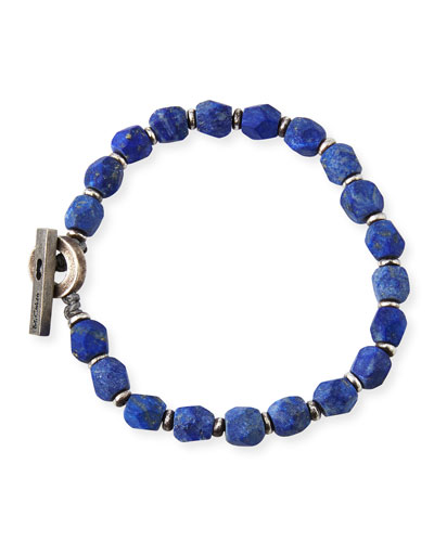 Men's Lapis Axiom Beaded Bracelet, Blue Pattern