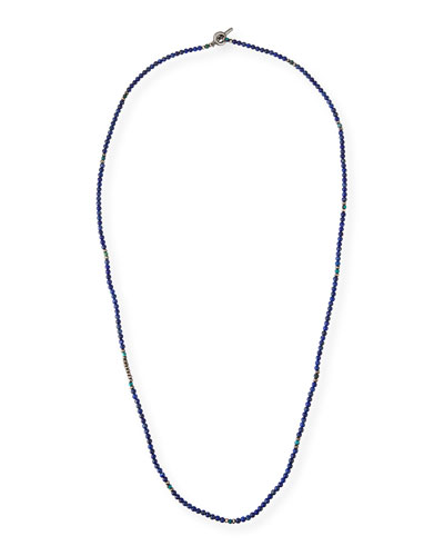 Men's Mini Gemstone Beaded Necklace, Blue