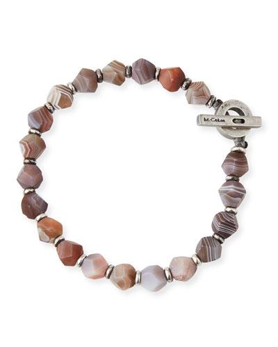 Men's Botswana Axiom Beaded Bracelet, Brown Pattern