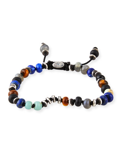 Men's Templar Jointed Gemstone Bracelet, Multicolor
