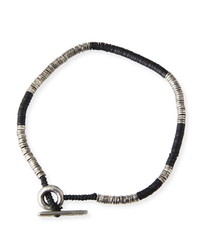 Men's Stacked Bead & Sterling Silver Disc Bracelet, Black