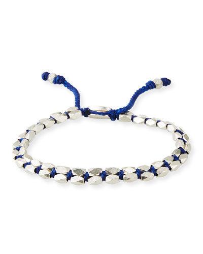 Men's Sterling Silver Bead Bracelet, Blue