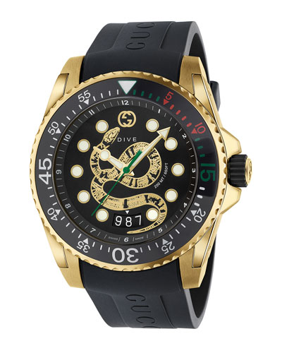 Men's Dive King Snake Gold PVD Watch with Rubber Strap