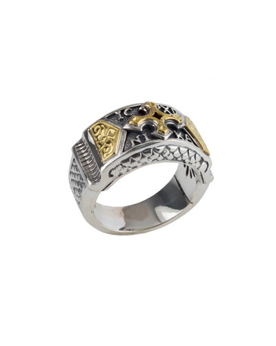 Men's Sterling Silver Band Ring w/ 18k Gold Cross