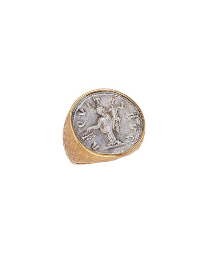 Men's God of Justice Aequitas Coin 18K Gold Ring