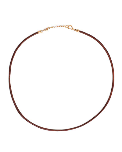 Men's Leather Cord Necklace w/ 18k Rose Gold, Black