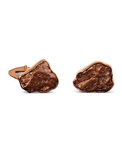 Natural Arizona Copper 18k Gold Cufflinks