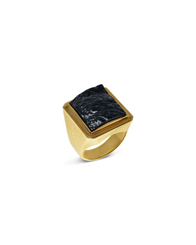 Men's Hematite 18k Gold Ring
