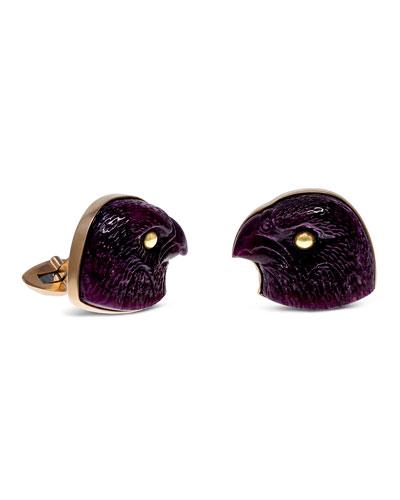Carved Ruby Falcon 18k Gold Cufflinks