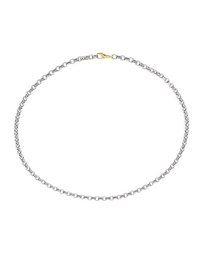 Men's Stainless Steel Chain w/ 18k Gold, 22