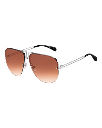 Men's Cutout Metal Aviator Sunglasses