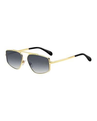 9c0bfe9d9b0 Men s Rectangular Mirrored-Lens Metal Sunglasses