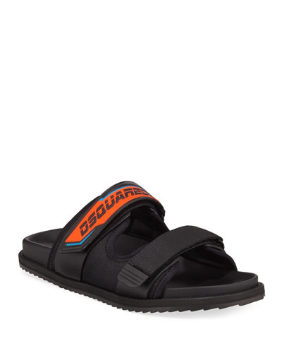 Men's Grip-Strap Neon Logo Sandals