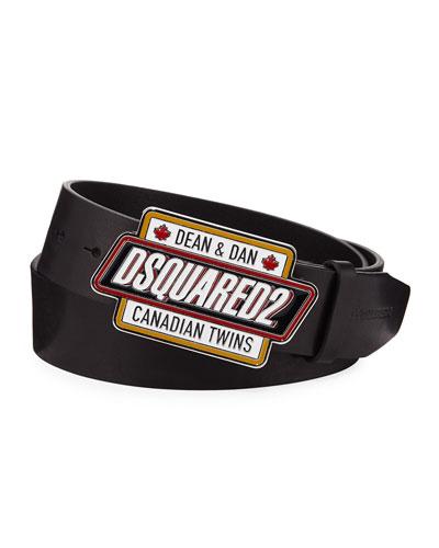 Men's Logo Plaque Buckle Leather Belt