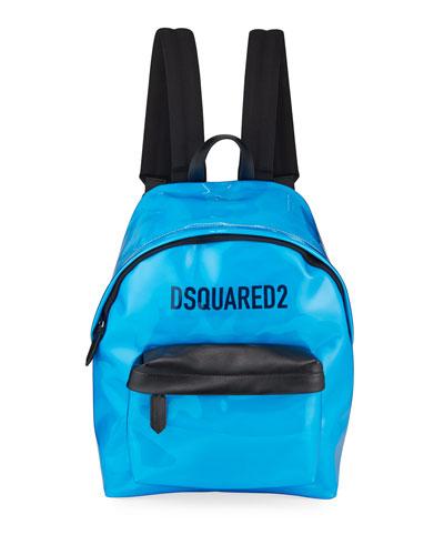 Men's Logo PVC Zip-Top Backpack