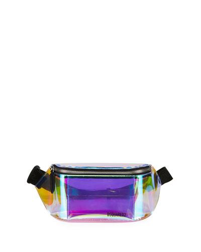 Men's Small PVC Belt Bag w/ Leather Trim
