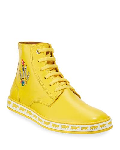Men's Alpistar Leather High-Top Sneakers, Yellow