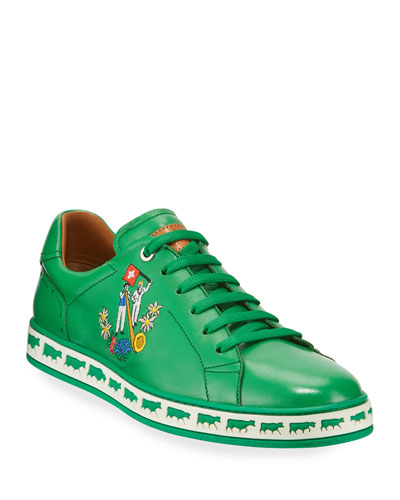 Men's Anistern Leather Low-Top Sneakers, Green