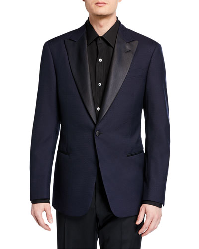 Men's Tonal Cross-Diagonal Pattern Dinner Jacket