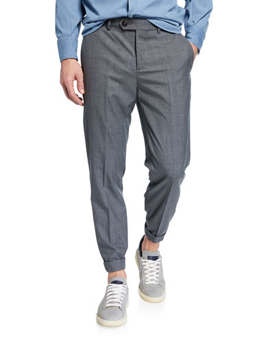 Men's Lightweight Wool Flat-Front Pants