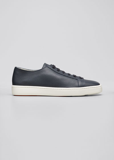 Men's Clean Iconic Leather Low-Top Sneakers, Navy