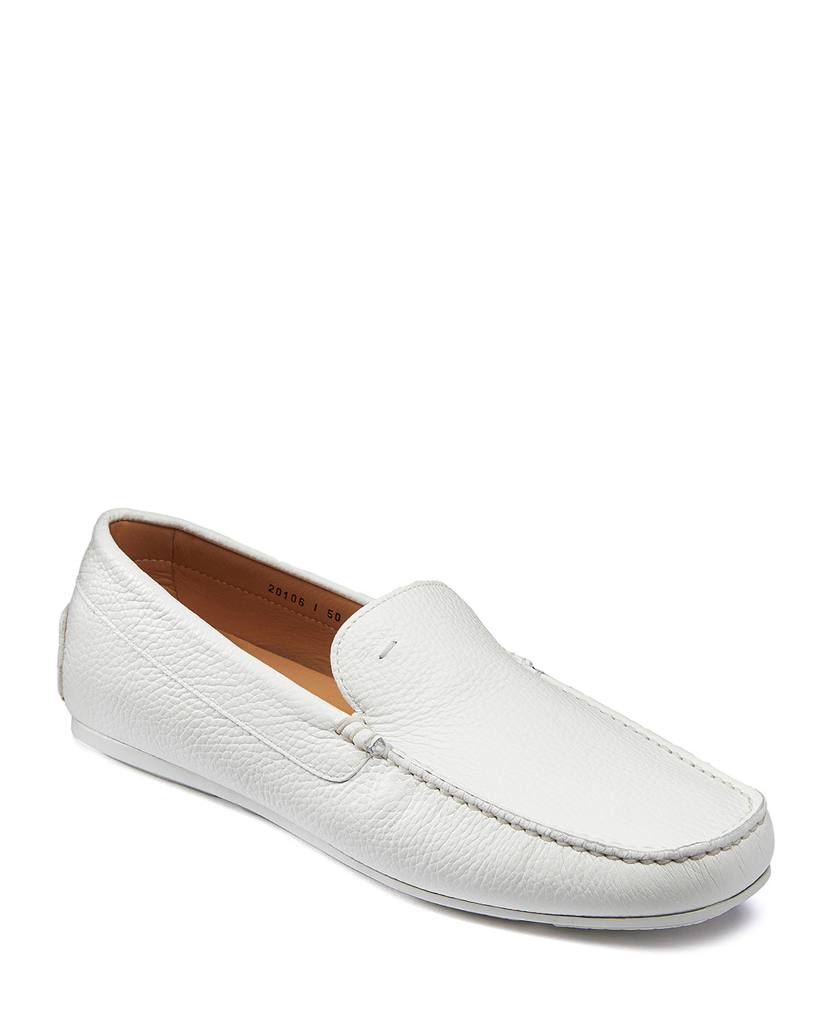Santoni Loafers MEN'S WELLINGTON PEBBLED LEATHER LOAFERS, WHITE