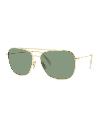 Men's Metal Aviator Sunglasses, Gold