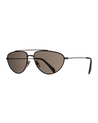 Men's Metal Pilot Sunglasses, Black