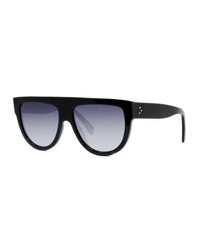 Men's Flattop Two-Tone Shield Universal-Fit Sunglasses
