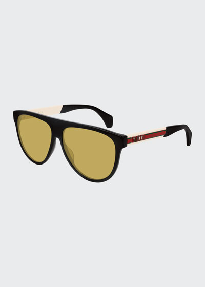 145ebb268bb Men s Nylon Flat-Top Rounded Sunglasses Quick Look. Gucci