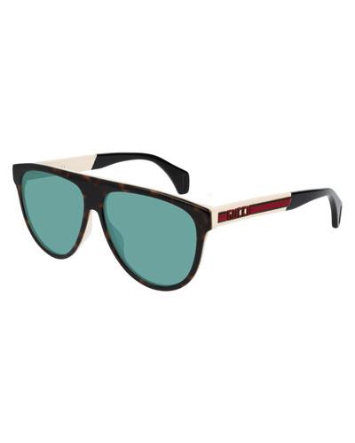 Men's Nylon Flat-Top Rounded Sunglasses