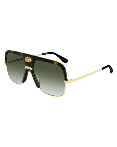 Men's Aviator Sunglasses with Exaggerated Logo Brow