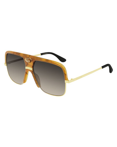 541d5cc9da9 Men s Aviator Sunglasses with Exaggerated Logo Brow