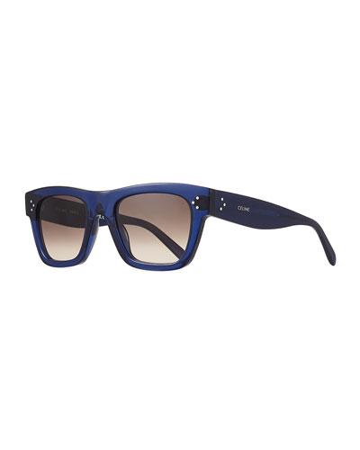 Men's Rectangular Acetate Sunglasses, Blue